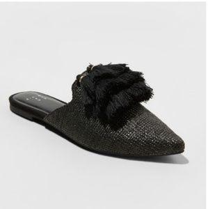 Tassel pointed woven mules/slides